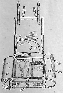 Укладка нижнего ряда ранца обр. 1936 г.