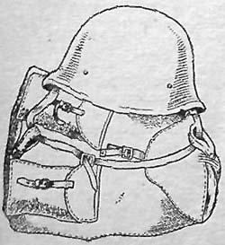 Притораичивание стального шлема к ранцу обр. 1941 г.
