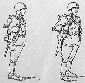 Стрелок-автоматчик ППД в полном походном снаряжении с флягой на поясе